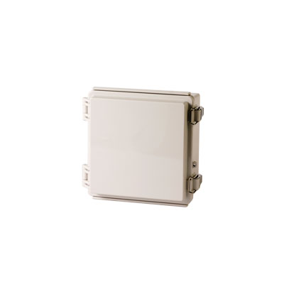 "BOXCO Enclosure, ABS, Gray color, Molded hinge & latch, W5.91 x L5.91 x D3.54"" , NEMA 4X"